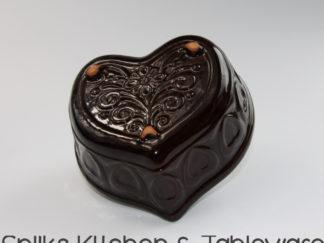 Scheurich bruine aardewerken puddingvorm in vorm hart | Spijks Vintage Kitchen & Tableware
