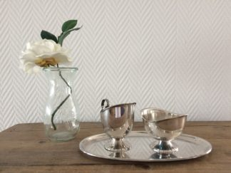 Verzilverd melk en suiker stel met schaaltje | Spijks Vintage Kitchen & Tableware
