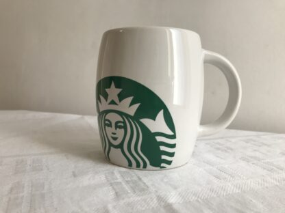 Starbucks Coffee Mug Green & White Barrel